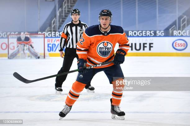 Tyson Barrie of the Edmonton Oilers skates during the game against the Ottawa Senators on February 2, 2021 at Rogers Place in Edmonton, Alberta,...