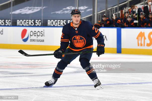 Tyson Barrie of the Edmonton Oilers skates during the game against the Winnipeg Jets on March 20, 2021 at Rogers Place in Edmonton, Alberta, Canada.