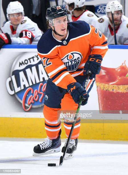 Tyson Barrie of the Edmonton Oilers skates during the game against the Ottawa Senators on January 31, 2021 at Rogers Place in Edmonton, Alberta,...