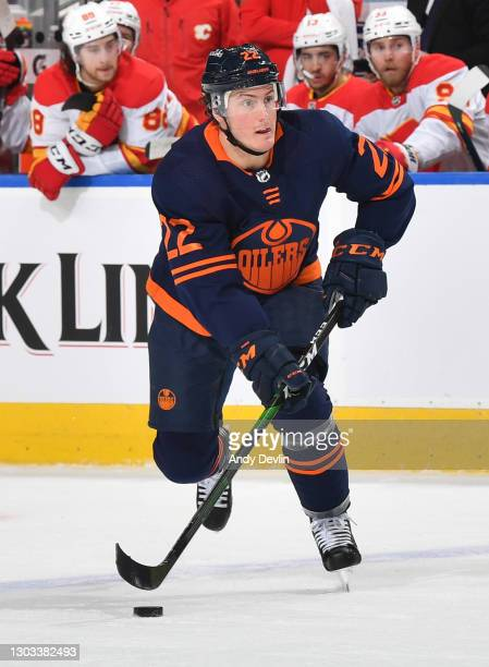 Tyson Barrie of the Edmonton Oilers skates during the game against the Calgary Flames on February 20, 2021 at Rogers Place in Edmonton, Alberta,...