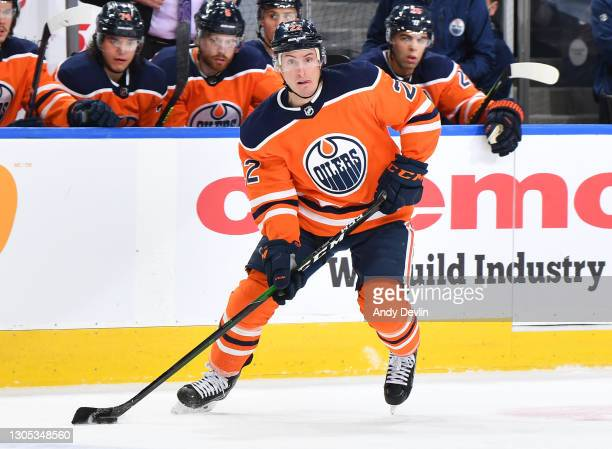 Tyson Barrie of the Edmonton Oilers skates during the game against the Toronto Maple Leafs on March 3, 2021 at Rogers Place in Edmonton, Alberta,...