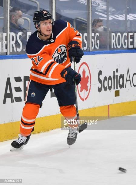 Tyson Barrie of the Edmonton Oilers skates during the game against the Ottawa Senators on March 10, 2021 at Rogers Place in Edmonton, Alberta, Canada.