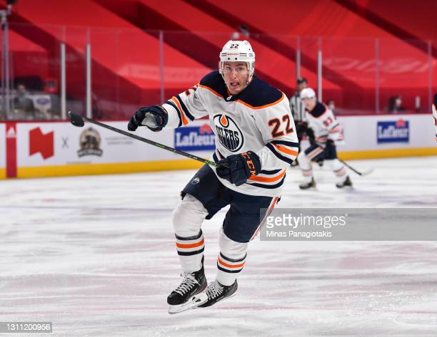 Tyson Barrie of the Edmonton Oilers skates during the second period against the Montreal Canadiens at the Bell Centre on April 5, 2021 in Montreal,...