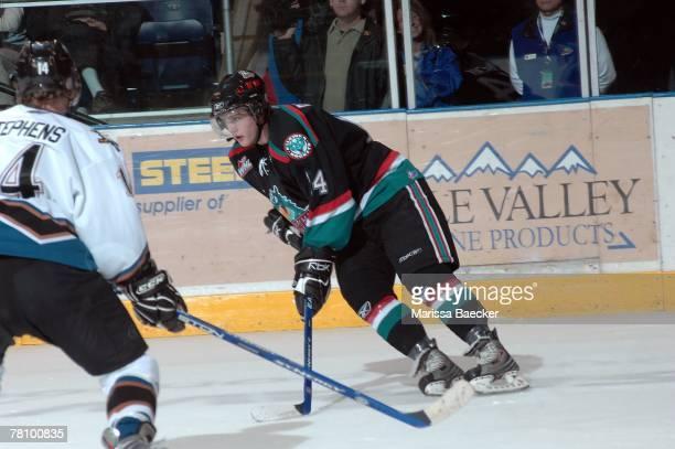 Tyson Barrie of the Kelowna Rockets skates against the Kootenay Ice on November 23 2007 at Prospera Place in Kelowna Canada