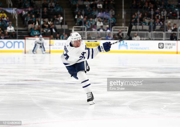 Tyson Barrie of the Toronto Maple Leafs in action against the San Jose Sharks at SAP Center on March 03, 2020 in San Jose, California.