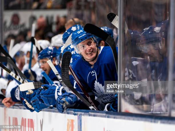 Tyson Barrie of the Toronto Maple Leafs reacts on the bench during the first period against the Tampa Bay Lightning at the Scotiabank Arena on March...