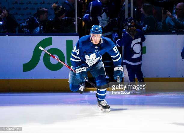 Tyson Barrie of the Toronto Maple Leafs skates before the start of the first period against the Vancouver Canucks at the Scotiabank Arena on February...