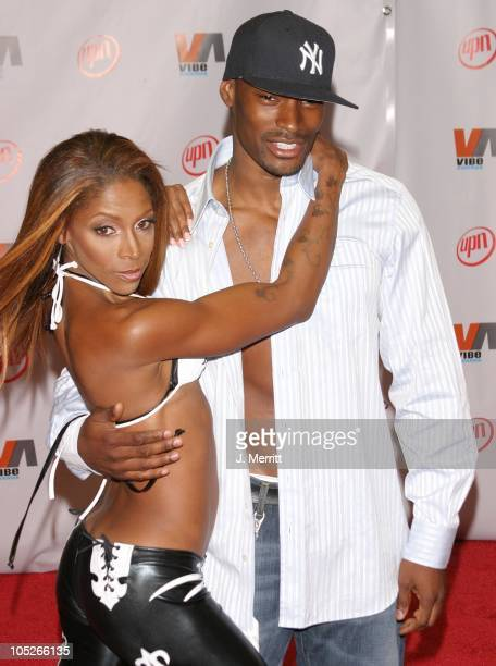 Tyson Beckford AJ Johnson during 2003 Vibe Awards Arrivals at Santa Monica Civic Auditorium in Santa Monica California United States