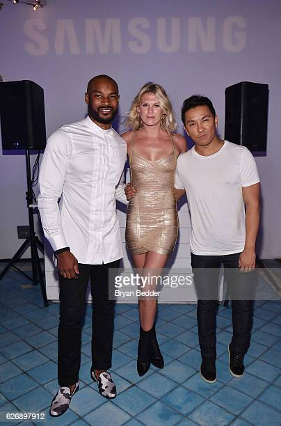 Tyson Beckford Alexandra Richards and Prabal Gurung attendÊPrabal GurungÕs Samsung Gear 360 Exhibition at Ocho at Soho Beach House during Art Basel...