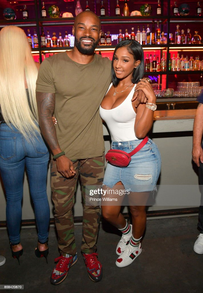 Tyson Beckford and Bernice Burgos attend Baller Alert's Bowl With a Baller at Basement Bowl on October 5, 2017 in Miami, Florida.