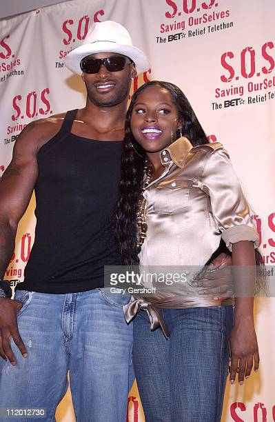 Tyson Beckford and Foxy Brown during 'SOS' The BET Telethon Relief Press Room at CBS Studios in New York City New York United States