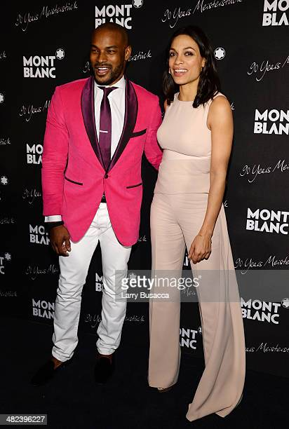 Tyson Beckford and Rosario Dawson attend Montblanc Celebrates 90 Years of the Iconic Meisterstuck on April 3 2014 at Guastavino's in New York City
