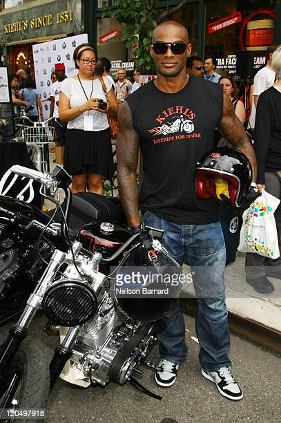 Tyson Beckford arrives on a BMW motorcycle at Kiehl's LifeRide for amfAR Block Party at Kiehl's Since 1851 New York Flagship Store on August 6 2011...