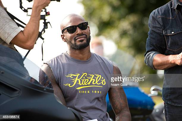Tyson Beckford attends the The AIDS Memorial Quilt Dedication as part of the fifth annual Kiehls LifeRide for amfAR at Governors Island on August 11...