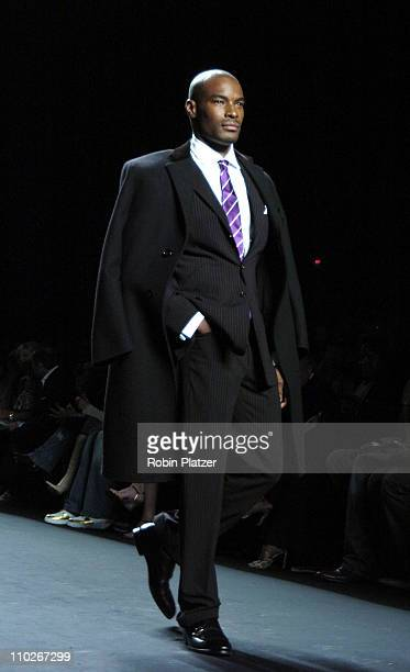 Tyson Beckford during Olympus Fashion Week Spring 2006 - Fashion For Relief - Runway at The Tents at Olympus Fashion Week in New York, New York,...