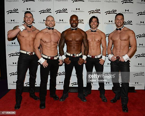 Tyson Beckford poses for photos with Chippendales at the Rio on May 1 2015 in Las Vegas Nevada