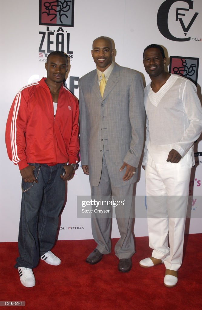 Tyson Beckford, Vince Carter & Brian McKnight during 'Light As A Feather' Fashion Show Uniting Fashion And Music On The West Coast at The Los Angeles Convention Center in Los Angeles, California, United States.