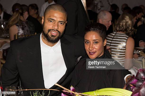 Tyson Chandler and Kimberly Chandler attend the TWO x TWO For AIDS And Art 2014 Gala and Auction on October 25 2014 in Dallas Texas