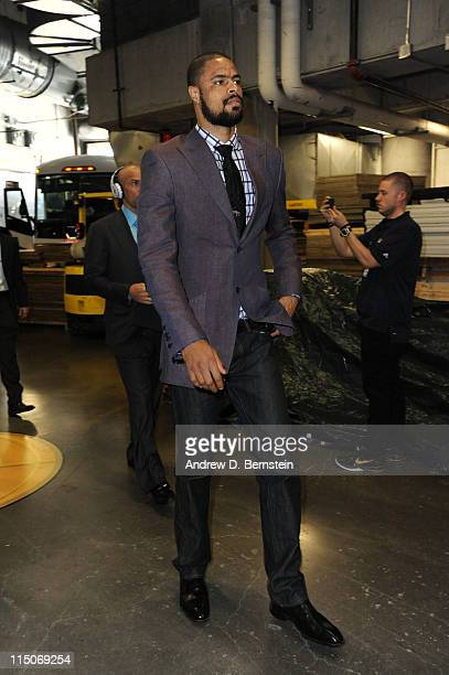 Tyson Chandler of the Dallas Mavericks arrives at the arena prior to Game Two of the 2011 NBA Finals against the Miami Heat on June 02 2011 at the...