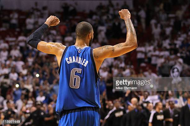 Tyson Chandler of the Dallas Mavericks celebrates after the Mavricks won 10595 against the Miami Heat in Game Six of the 2011 NBA Finals at American...