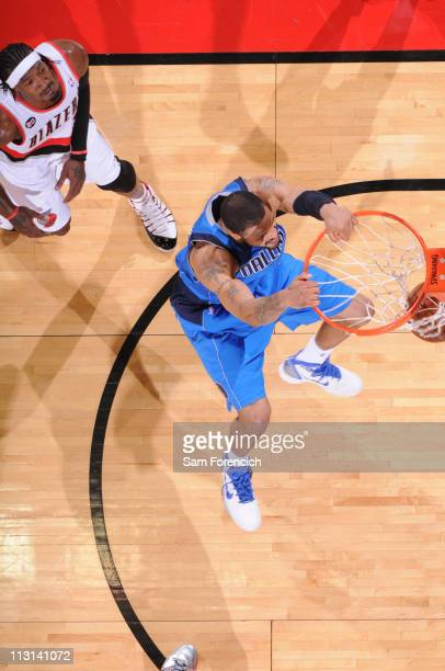 Tyson Chandler of the Dallas Mavericks dunks against the Portland Trail Blazers in Game Four of the Western Conference Quarterfinals in the 2011 NBA...