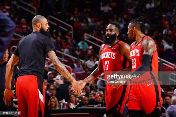 Tyson Chandler of the Houston Rockets highfives James Harden of the Houston Rockets against the New York Knicks on February 24 2020 at the Toyota...