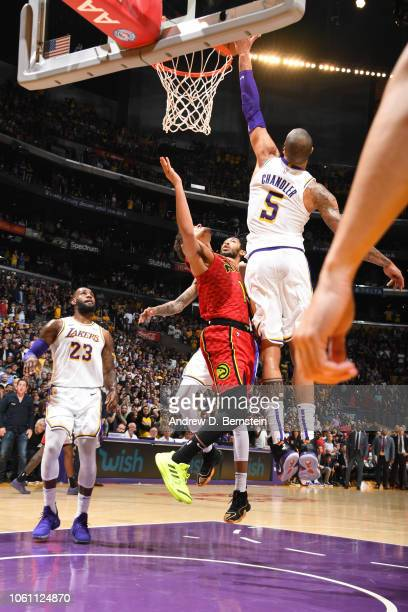 Tyson Chandler of the Los Angeles Lakers blocks the potenial game winning basket of Trae Young of the Atlanta Hawks on November 11 2018 at STAPLES...