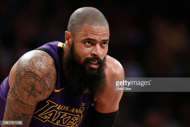 Tyson Chandler of the Los Angeles Lakers looks on during the game against the Utah Jazz on November 23 2018 at the STAPLES Center in Los Angeles...