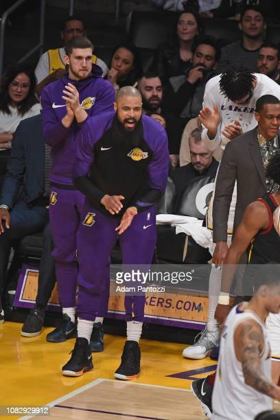 Tyson Chandler of the Los Angeles Lakers reacts against the Cleveland Cavaliers on January 13 2019 at STAPLES Center in Los Angeles California NOTE...