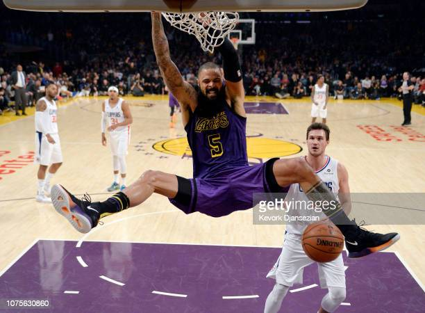 Tyson Chandler of the Los Angeles Lakers scores basket against Danilo Gallinari of the Los Angeles Clippers during the first half at Staples Center...