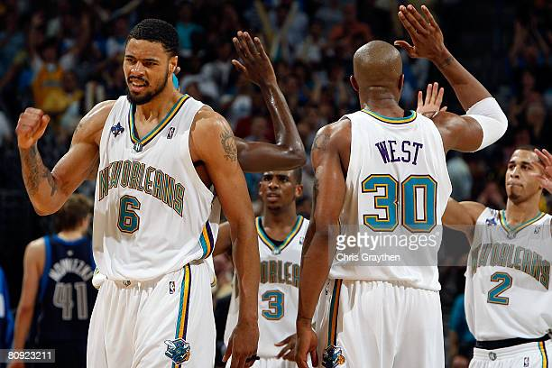 Tyson Chandler of the New Orleans Hornets celebrates during the game against the Dallas Mavericks in Game Five of the Western Conference...