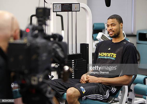 Tyson Chandler of the New Orleans Hornets does an interview with NBA TV at the Hornets practice facility on March 20 2008 in Westwego Louisiana NOTE...
