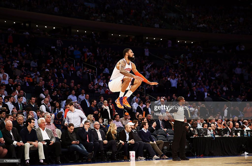 Tyson Chandler #6 of the New York Knicks does his ritual jump before a game against the Indiana Pacers at Madison Square Garden in New York City on March 19, 2014.