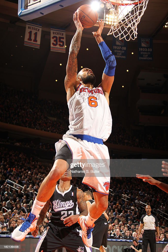 Tyson Chandler #6 of the New York Knicks dunks the ball against the Sacramento Kings on February 2, 2013 at Madison Square Garden in New York City.