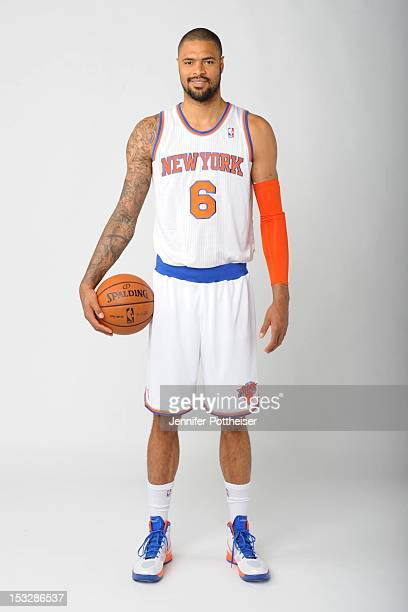 Tyson Chandler of the New York Knicks poses for a portrait during Media Day on October 1 2012 at the Knicks Training Facility in Greeburgh New York...