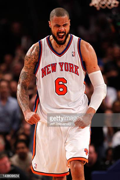 Tyson Chandler of the New York Knicks reacts in the first half against the Miami Heat in Game Three of the Eastern Conference Quarterfinals in the...