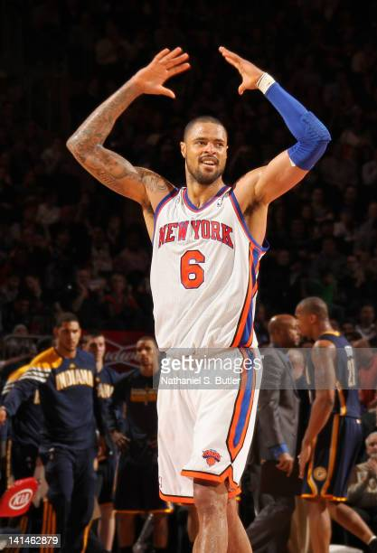 Tyson Chandler of the New York Knicks reacts to the crowd during the game against the Indiana Pacers on March 16 2012 at Madison Square Garden in New...