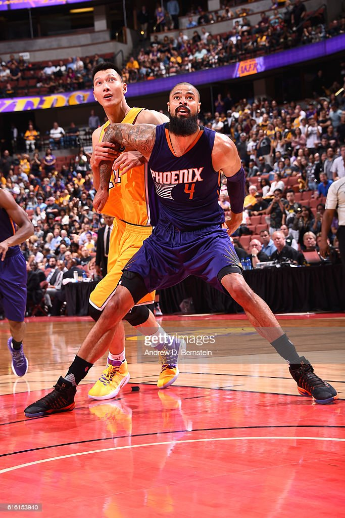 Tyson Chandler #4 of the Phoenix Suns boxes out Brandon Knight #11 of the Phoenix Suns during a preseason game on October 21, 2016 at Honda Center in Anaheim, California.
