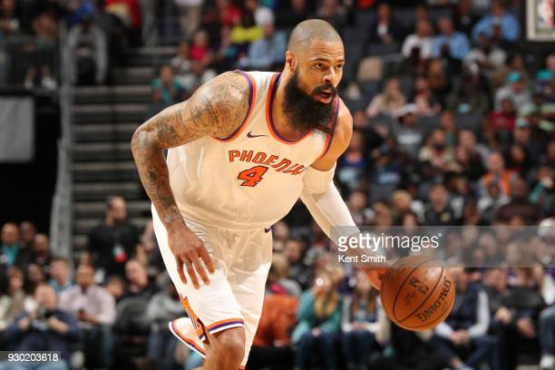 Tyson Chandler of the Phoenix Suns handles the ball during the game against the Charlotte Hornets on March 10 2018 at Spectrum Center in Charlotte...