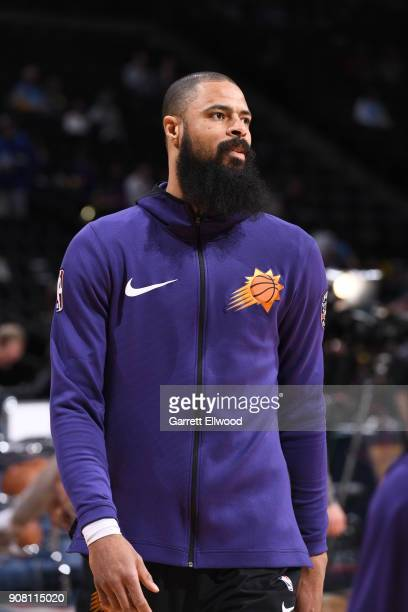 Tyson Chandler of the Phoenix Suns looks on prior to the game against the Denver Nuggets on January 19 2018 at the Pepsi Center in Denver Colorado...