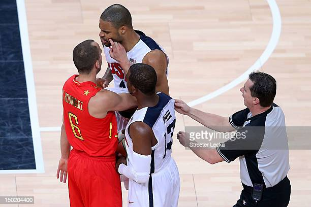Tyson Chandler of the United States reacts after clashing with Sergio Rodriguez of Spain during the Men's Basketball gold medal game between the...