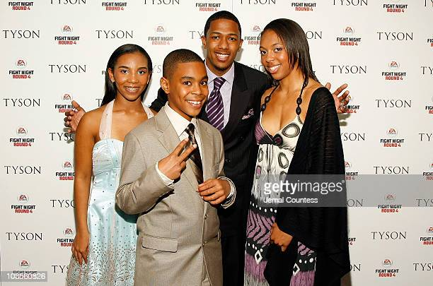 Tyson family members Rayna Amir and Gina with entertainer Nick Cannon at a screening of 'Tyson' at the AMC Loews 19th Street on April 20 2009 in New...
