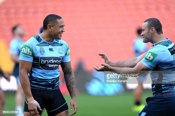 Tyson Frizell and Boyd Cordner share a laugh during the New South Wales Blues State of Origin Captain's Run at Suncorp Stadium on July 10 2018 in...