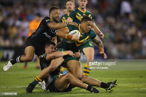 Tyson Frizell of Australia is tackled during the International Rugby League Test Match between the Australian Kangaroos and the New Zealand Kiwis at...
