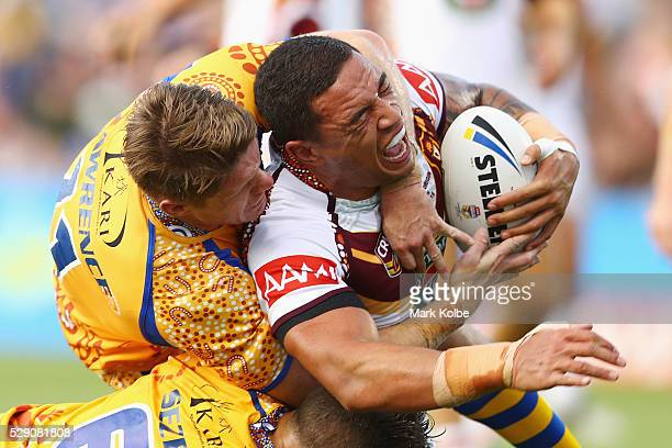 Tyson Frizell of Country is tackled during the NSW Origin match between City and Country at Scully Park on May 8 2016 in Tamworth Australia