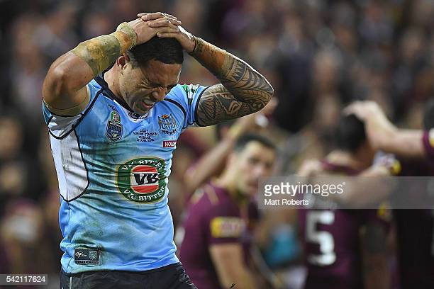Tyson Frizell of the Blues looks dejected after a try by Dane Gagai of the Maroons during game two of the State Of Origin series between the...