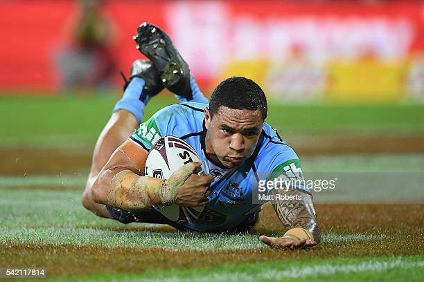 Tyson Frizell of the Blues scores a try during game two of the State Of Origin series between the Queensland Maroons and the New South Wales Blues at...