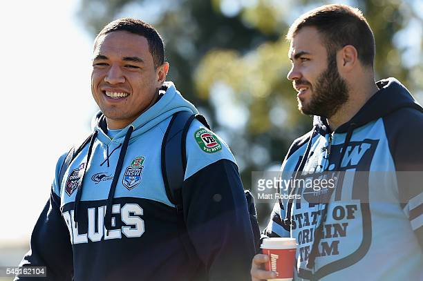 Tyson Frizell of the Blues shares a laugh with Wade Graham during the New South Wales Blues State of Origin training session on July 6 2016 in Coffs...