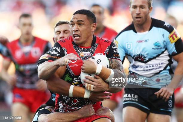 Tyson Frizell of the Dragons is tackled during the round 11 NRL match between the St George Illawarra Dragons and the Cronulla Sharks at WIN Jubilee...