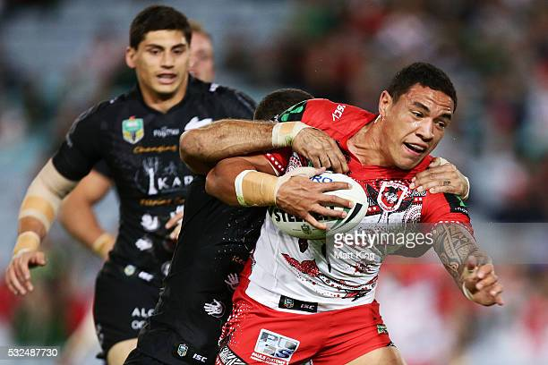Tyson Frizell of the Dragons is tackled during the round 11 NRL match between the South Sydney Rabbitohs and the St George Illawarra Dragons at ANZ...